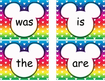 Editable Mickey Word Wall Cards  **** Rainbow
