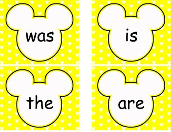Editable Mickey Word Wall Cards  **** Yellow