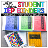 Editable Middle and High School Color Coded Student IEP Binder Covers + Dividers
