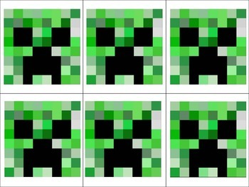 Editable Minecraft Themed Game Cards FREEBIE
