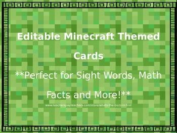 Editable Minecraft Themed Game Cards FREEBIE