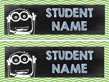 Editable Minion Chalkboard Theme Desk Name Tags / Labels