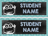 Editable Minion Chalkboard Theme Desk Name Tags / Labels