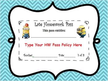 Editable Minion Late Work Pass