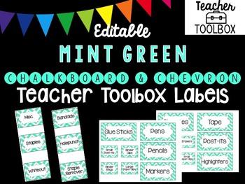 Editable Mint Chevron Teacher Toolbox Labels