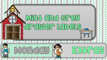 Editable Mint and grey sterilite labels