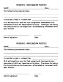 Editable Missing Homework Notice