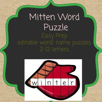 Editable Mitten Name Puzzle