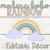 Editable Modern Bohemian Pastel Rainbow Classroom Decor Bundle