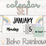 Editable Modern Boho Pastel Rainbow Calendar Set