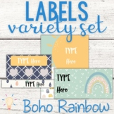 Editable Modern Boho Pastel Rainbow Labels Variety Set