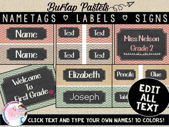 Editable Modern Burplap Chevron Nametags, Labels and Signs