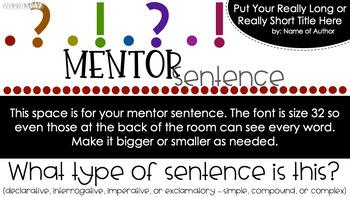 Editable Mentor Sentence Slides - Grammar - Writing - Editing - Revising