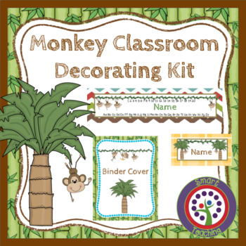 Editable Monkey Theme - Decorate Your Classroom Kit - Name Cards, Binder, Roster