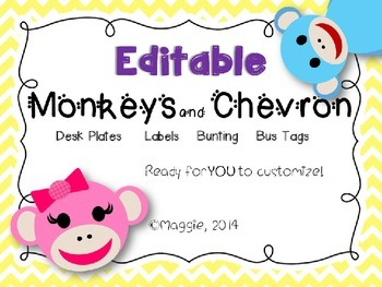 Editable Monkeys and Chevron Desk Plates, Labels, Bunting,