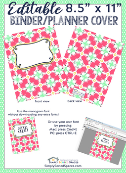 image regarding Planner Cover Printable titled Editable Printable Monogram Binder / Planner Include - entrance and again
