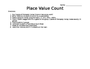 Editable Monopoly Money Place Value Count