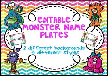 Editable Monster Rainbow Chevron Name Plates/ Desk Plates/ Nametags