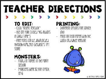 Editable Monster Theme Gift Tag Welcome Back to School