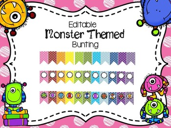 Editable Monster Themed Bunting