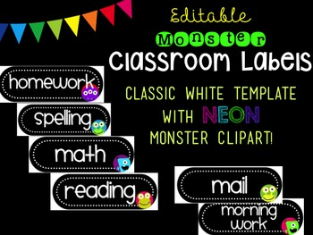 Editable Monster-Themed Basket Labels