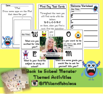 Monster Themed First Day Activities