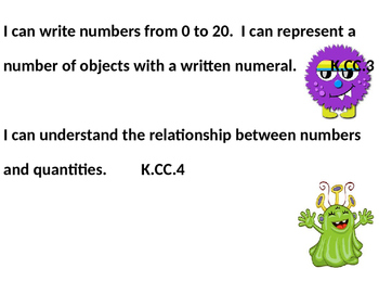 Editable Monster Themed Kindergarten ELA and Math Common Core I Can Statements