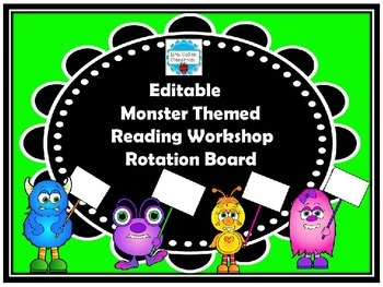 Editable Monster Themed Reading Workshop Rotation Board