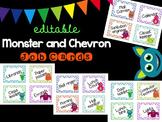 Editable Monster and Chevron Job Cards