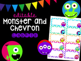 Editable Monster and Chevron Labels (Small, 2x4)