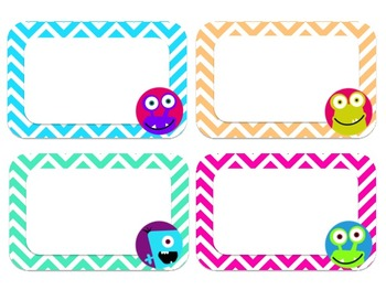 Editable Monster and Chevron Labels (Large)