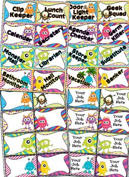 Editable Monster themed Classroom Jobs Clip Chart
