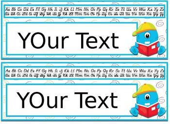 Editable Monster themed Desk Nameplates with manuscript & cursive alphabet
