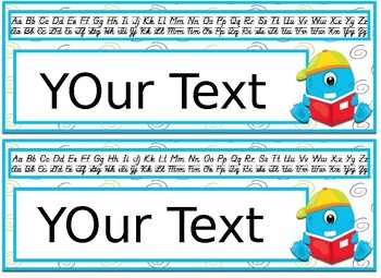 Editable Monster themed Desk Nameplates with manuscript & cursive alphabet
