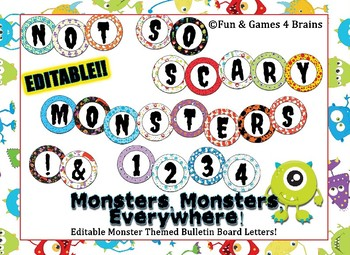 Editable Monster themed bulletin board letters or labels