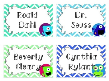 Editable Monsters and Chevron Book Label Pack
