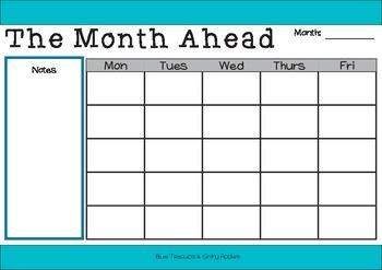 "Editable ""Month Ahead"" Calendar PDF"