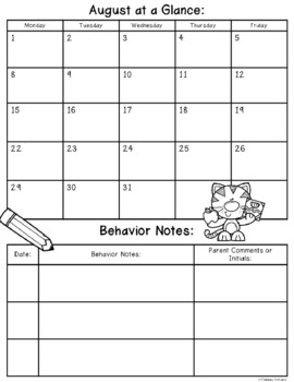 Editable Month at a Glance & Behavior Record {For student take home folders}