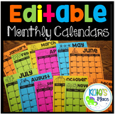 Editable Monthly 5 Day Calendars 2018-2019