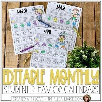 Editable Monthly Behavior Calendars {Kindergarten}