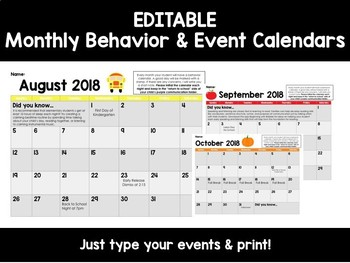 Editable Monthly Behavior Calendars for {July 2018-July 2019}