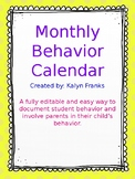 Editable Monthly Behavior Chart