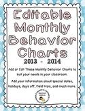 Editable Monthly Behavior Charts for 2013 - 2014 (Microsof