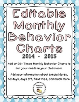 Editable Monthly Behavior Charts for 2014-2015 (Microsoft