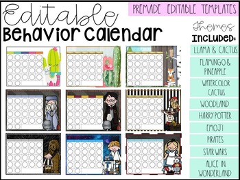 Editable Monthly Behavior Cards