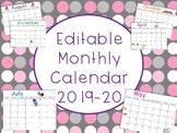 Editable Monthly Calendar 2019-20