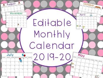 Editable Monthly Calendar 2016-17