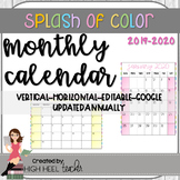 Editable Monthly Calendar 2019-2020...Updates for Life!