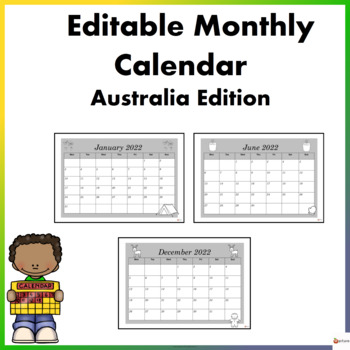 Editable Monthly Calendar Black and White Edition ( January 2020- December 2020)