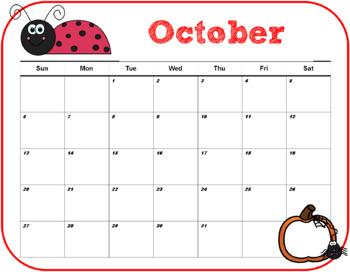 Editable Monthly Calendar- Ladybug Themed